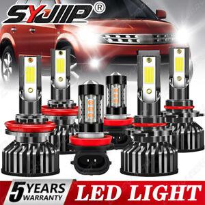 For 2009-2014 Nissan Murano LED Headlight Bulbs High Low Beam Fog Light Bulbs 6X