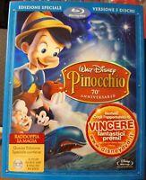 PINOCCHIO Ed SPECIALE - BLU RAY 2 Dischi + DVD Disney con SLIPCOVER RILIEVO