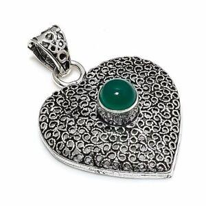 "Green Onyx Gemstone Handmade 925 Sterling Silver Jewelry Pendant 1.69"" h752"