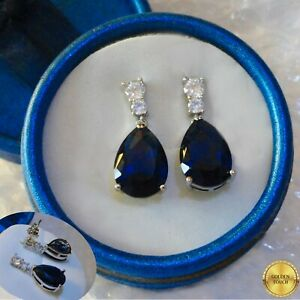 Women GF Sapphire & Diamond Drop Earrings  Made With Swarovski Crystals, BOXED