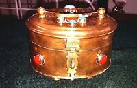 Vintage Box Brass Jeweled  Trinket Hand Made Hinged Footed