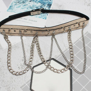 Women Faux Leather Belt Metal Chain Waistband Studded Buckle Gothic Punk Chic