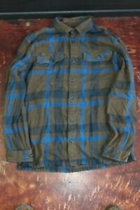 Patagonia Organic Cotton Plaid Flannel Camp Shirt Long Sleeve MNS MED Green Blue