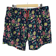 New listing Bermies Men's Swim Trunks Shorts Size XL Floral Brief Lined Pockets Casual Blue