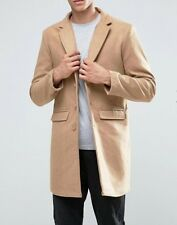 Button Wool Collared Parkas for Men