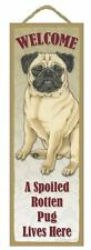 """Spoiled Rotten Pug Tan Lives Here Sign 5"""" x 15"""" Plaque Gift pet dog"""