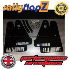 Rally Mud Flaps fits MITSUBISHI LANCER RALLIART SPORTBACK 08> Black Logo Silver