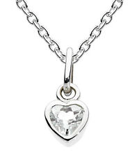 "Dew Childrens Jewellery Silver Birthstone Necklace 14"" Chain - April RockCrystal"