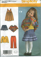 S 4437 sewing pattern child's PANTS SKIRT JUMPER PONCHO KNIT TOP sizes ½,1,2,3,4
