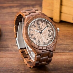 UWOOD Mens Natural Walnut Wood Watch Sandal Wood Relogio Masculine Gift for Men