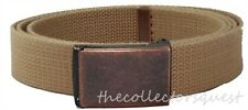 "NEW RUSTIC FLIP TOP 52"" INCH KHAKI CANVAS MILITARY GOLF WEB BELT BRONZE BUCKLE"