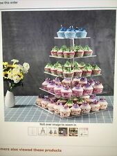 Niubee 5 Tier Acrylic Cupcake Rotating Tower/Stand- Square, New In Box