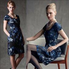 Banana Republic Madmen Blue Black Begonia Floral Sheath Dress Pockets Size 0