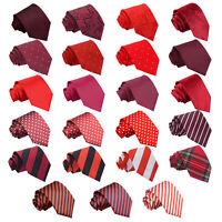 DQT Red Mens Tie Solid Plain Plaid Patterned Floral Paisley Polka Dot Tartan