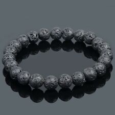 Natural Matte Black Lava Rock Stone Bracelet Stretch 8mm Round Beads Mens Unisex
