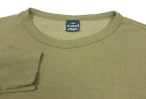 Vintage Duofold Wool Blend Olive Green Thermal Crew Neck Shirt Large Made USA