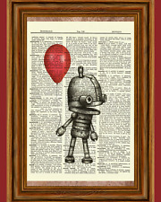 Cute Robot holding Balloon Dictionary Vintage Art Print Poster Picture