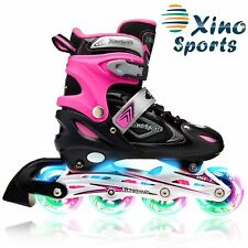 XinoSports Adjustable Children's Inline Skates for Girls & Boys with Light Up.