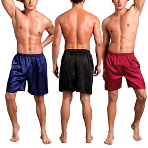 Men Silk Satin Pajama Trousers Plus Size Sleepwear Lounge Shorts Underwear Pants