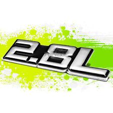 """BLACK """"2.8L"""" SILVER LETTER LOGO TRIM BADGE METAL EMBLEM DECAL EXTERIOR STICKER"""