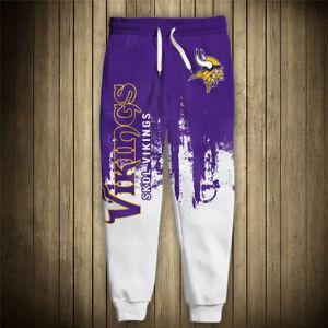 MINNESOTA VIKINGS men's Sweatpants Polyester Sweats Pants S-6XL Football Team