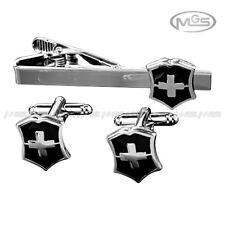 MEN's engravable SWISS ARMY KNIFE CROCE ARGENTO GEMELLI TIRANTE clip Fibbia Set