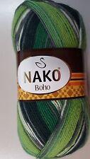 Nako Boho Sock Yarn #81261 Green Lime & White Mix 100g