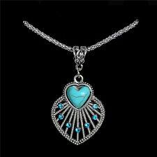 New Heart Turquoise Stone Crystal Bohemia Retro Women Pendant Necklace Jewelry