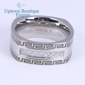 Men's Stainless Steel Square Micro Pave Clear CZ Greek Key Band Ring#G