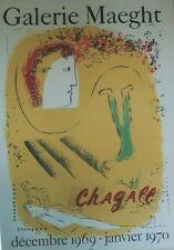 """""""CHAGALL (LE FOND JAUNE)"""" Affiche originale entoilée Litho MOURLOT 1969"""