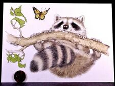 Linda K Powell Raccoon Tree Branch Butterfly  Hang in There Greeting Card NEW