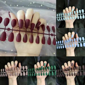 24Pcs False Nail Tips Stiletto Matte French Full Cover Acrylic Fake Nails Art