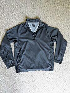 Adidas Climaproof Men's Black 1/4-Zip Pullover Windbreaker - Size Large L