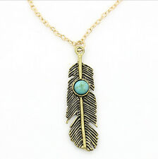 Women Style Alloy Feather Turquoise Bead Retro Pendant Long Chain Necklace