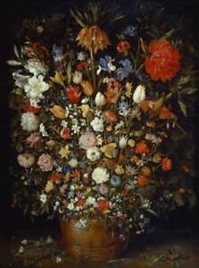 Jan Brueghel the Elder Flowers in a Wooden Vessel Poster Giclee Canvas Print