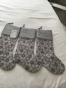 SHABBY CHIC SILVER Beaded Christmas Stockings Lux GORGEOUS!