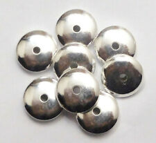 34 PCS 8X4MM SAUCER SPACER BEAD STERLING SILVER PLATED 341II