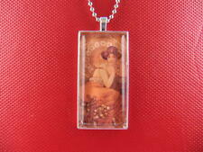 MUCHA / TOPAZ ART GLASS TILE PENDANT / NECKLACE