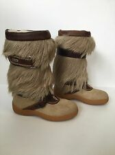 Pajar Goat Fur Hair Leather Strap Buckles Fleece Lined Boots Mukluks 37 US 6.5 7