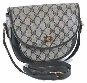 Authentic GUCCI Shoulder Cross Body Bag GG PVC Leather Navy Blue E1312