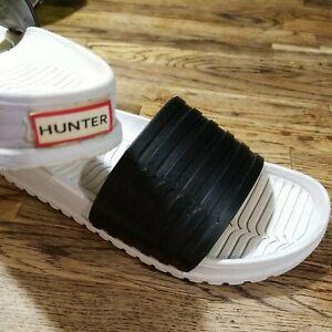 HUNTER Black & White Slides Plastic ~ Slip On Sandals Women's Size 7