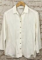 J Jill Love linen shirt womens XS button up vneck eggshell hi lo long slv top C4