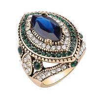 Mujer Lujo Resina Anillo De Boda zafiro cristal Anillos Ring