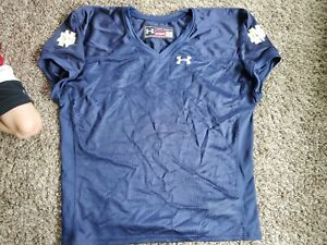 Notre Dame Blank Under Armour Team Issued Football NCAA Practice Jersey 2XL Blue
