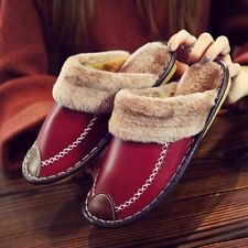 Winter Women Slippers Genuine Leather Home House Indoor Non-slip Thermal Shoes