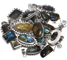 Bulk Price Lot 100 PCs. Natural LABRADORITE 925 Sterling Silver Plated Pendant