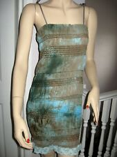 Tie dyed crinkle Hippy dress Blue brown Bohemian Party Rock Festival Holiday UK