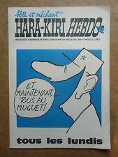 AFFICHE  journal  HARA KIRI  HEBDO  N°13  du 28 avril  1969