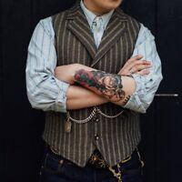 Retro Formal Herren Weste Tweed Wollmischung Revers Slim Fit Ärmellos Kurz Vest
