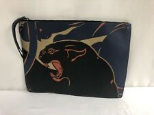 Valentino Rockstud Panther Leather & Canvas Blue Orange Large Clutch $1495.00